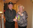 John Butler with Janice Shea - John guessed the correct number of candies in the jar.